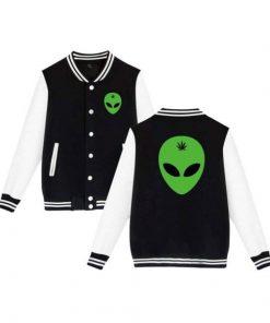 Alien Black and White Head Leaf Weed Varsity Jacket