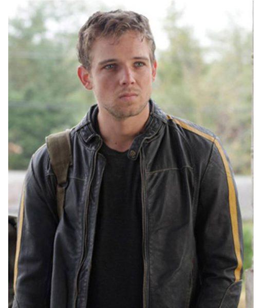 Dylan Massett Bates Motel Max Thieriot Black Cafe Racer Leather Jacket