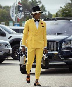 Yellow Cam Newton Style Tuxedo Suit