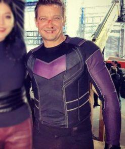 Jeremy Renner Clint Barton Hawkeye 2021 Purple Leather Jacket