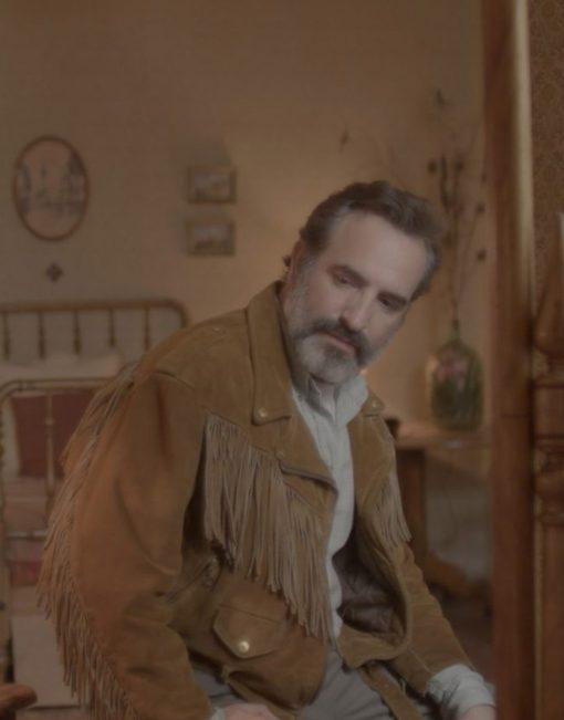 Jean-Dujardin-Georges-Deerskin-Brown-Fringed-Suede-Leather-Jacket