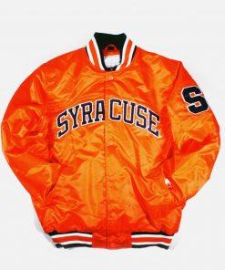 Men's Orange Satin Syracuse Bomber Jacket