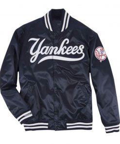 Yankees Blue Men's Satin Bomber Jacket