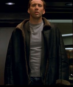 Nicolas Cage The Family Man Jack Campbell Shearling Collar Jacket
