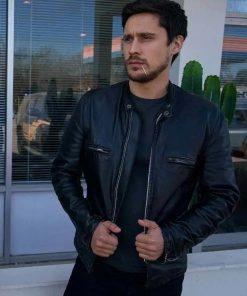 Peter Gadiot Queen Of The South James Valdez Black Leather Jacket