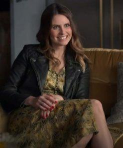 Flo Collins TV Series Ted Lasso S02 Ellie Taylor Black Leather Jacket