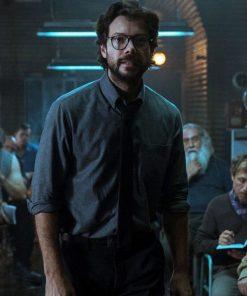 money-heist-professor-black-tie-and-gray-shirt