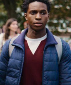 Kedar Williams-Stirling Sex Education S03 Jackson Marchetti Blue Puffer Jacket