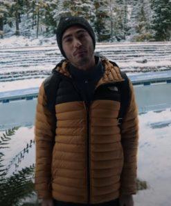 Tag Darren Barnet Love Hard 2021 Mustard and Black Puffer Jacket