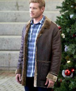 Trevor-Donovan-Nostalgic-Christmas-Brown-Shearling-Leather-Jacket