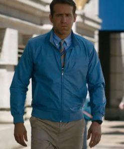 Ryan Reynolds Blue Free Guy Bomber Leather Jacket